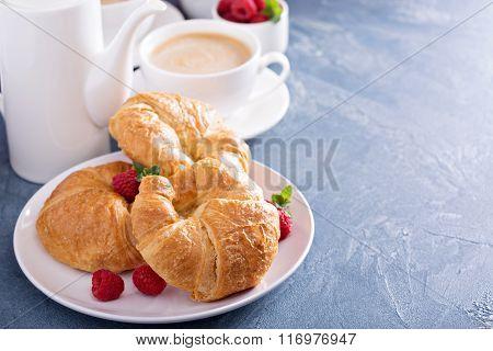 Freshly baked croissants for breakfast