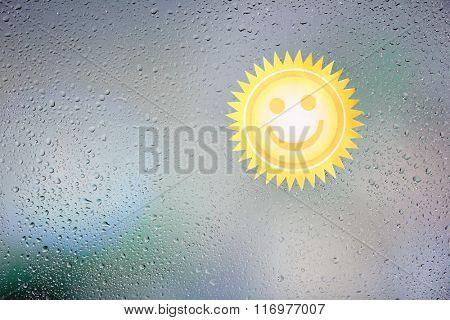 Sticker on wet window