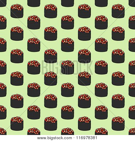 Seamless pattern with hand-drawn cartoon japanese food icon - sushi with caviar. Doodle drawing. Vec