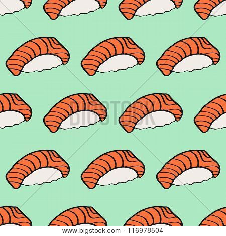 Seamless pattern with hand-drawn cartoon japanese food icon - sushi with salmon. Doodle drawing. Vec