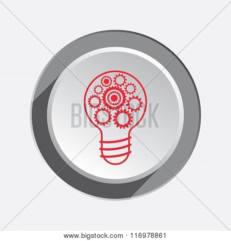 Light bulb icon. Gears, cogwheel in electric lamp. Idea, team work symbol. Red flat sign on three-di