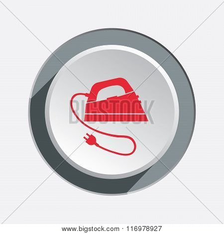 Iron icon. Electric appliance for dress smoothing symbol. Red flat sign on three-dimensional white-g