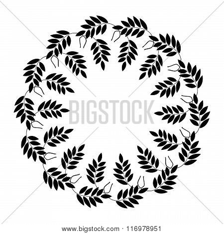Laurel wreath cicle tattoo. Black stylized ornaments, signs on white background. Victory, peace, glo