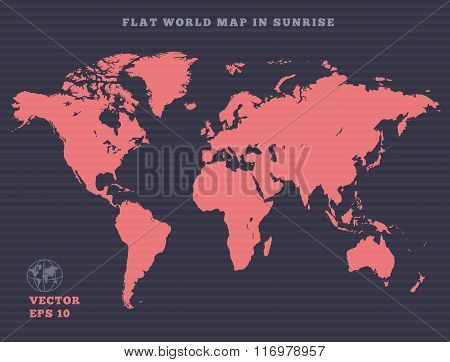 World map. Rose map silhouette on violet dark background. Sunrise theme design. Vector isolated.