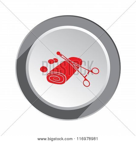 Medical forceps tool, tampons and bandage icon. Health, medicine symbol. Red sign on three-dimension