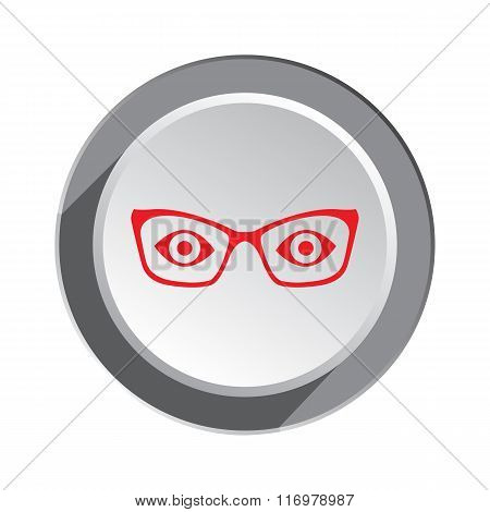 Eye glasses icon. Optical glass appliance for vision, medical symbol. Red sign on three-dimensional