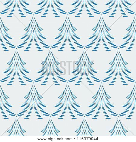 Seamless Christmas pattern. Firs, trees on light blue background. Twist stylized ornament of laurel