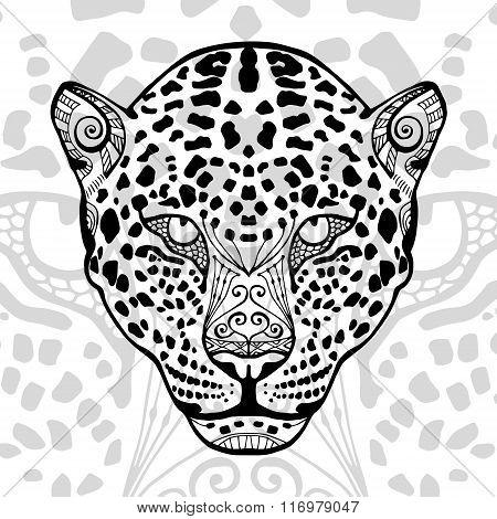 The black and white leopard print with ethnic zentangle patterns