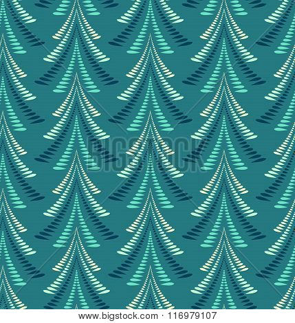 Seamless Christmas pattern. Firs, trees on blue background. Twist stylized ornament of laurel leaves