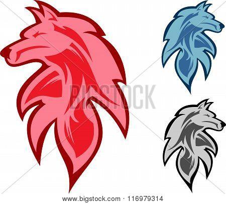 stock logo elegant wolf