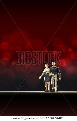 Miniature people -  a couple in love