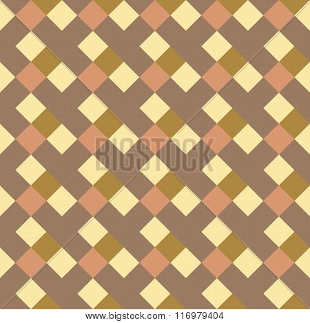 Seamless geometric checked pattern. Diagonal square, braiding, woven line background. Patchwork text