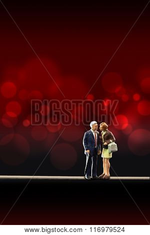 Miniature people -  a senior couple in love