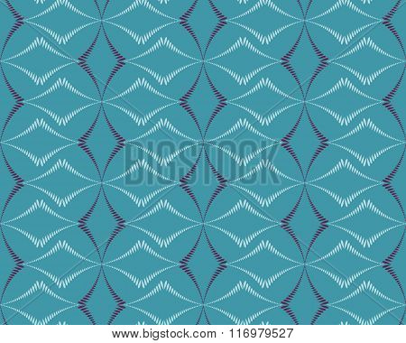 Seamless geometric abstract pattern. Rhombus bands, lines on blue background. Turquoise, gray, lilac
