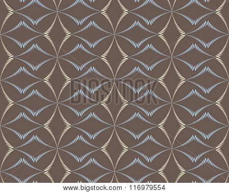 Seamless geometric abstract pattern. Rhombus bands, lines on light brown background. Brown, gray, be
