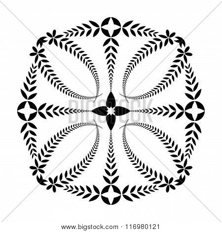 Laurel wreath tattoo. Cross ornament. Black sign on white background. Defense, harmony, glory symbol