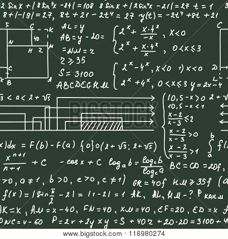 Seamless pattern on the green blackboard with handwriting text and mathematical formulas, vector
