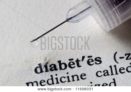 insulin drips on the word diabetes