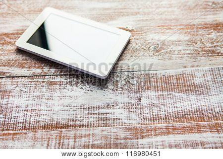 white plane-table isolated on a wooden background