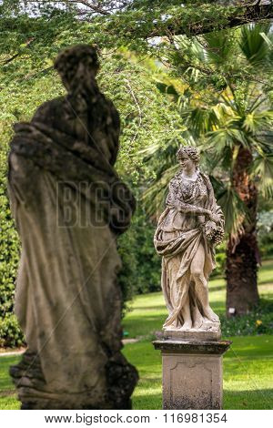Beautiful stone sculptures in park of Tettuccio Terme Spa in Montecatini Terme, Italy
