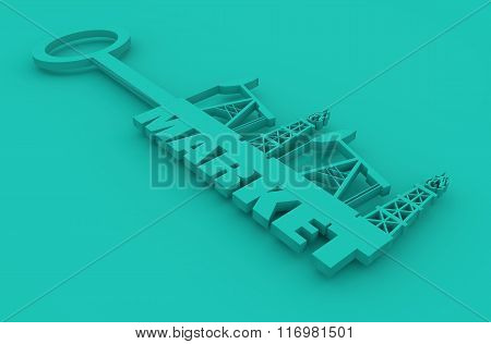 Key With Market Word And Mining Equipment Icons