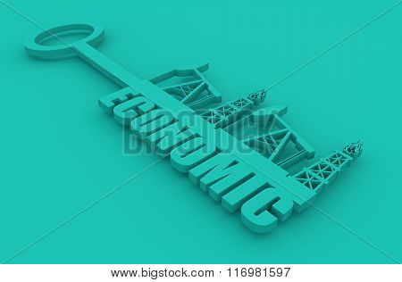 Key With Economic Word And Mining Equipment Icons