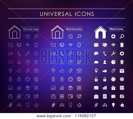 A Set Of Universal White Icons
