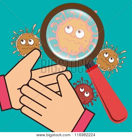 Germs and bacteria cartoon