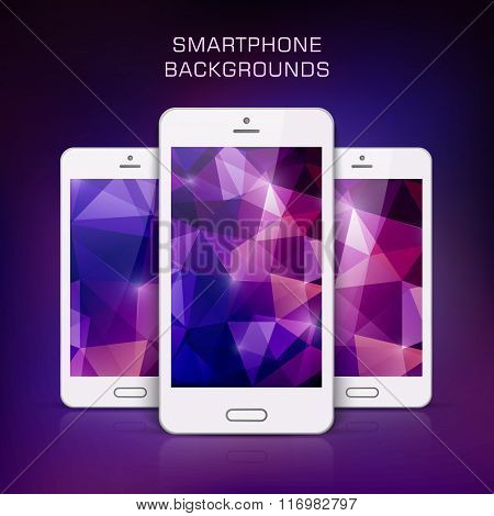 White Mobile Phone With Triangular  Background