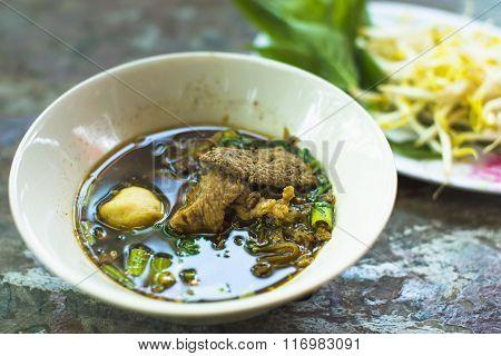 Thai Food - Pork Noodles Braised Taste Delicious