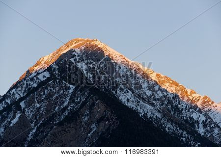 Snowy Peak in Tena Valley, Panticosa, Aragon, Huesca, Spain.
