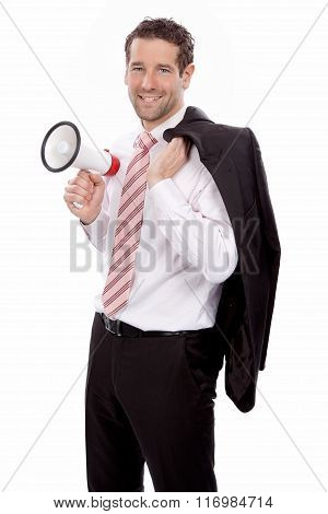 Attractive Businessman holding a megaphone