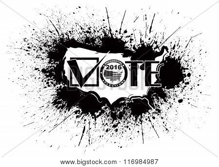 Vote 2016 Usa Map Ink Splatter Outline Illustration