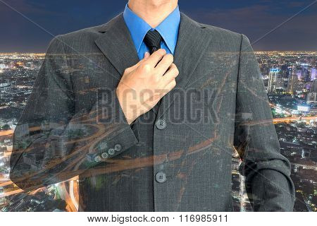 Double exposure of businessman.