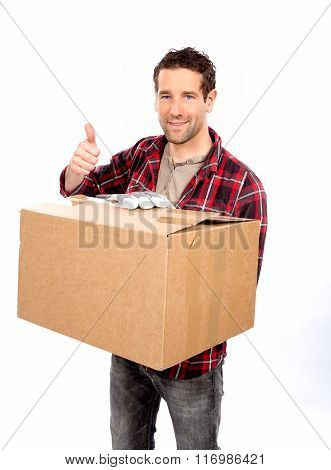 Delivery Man showing thumb up