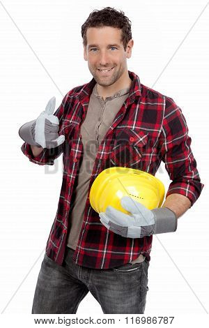 Smiling contractor showing thumb up isolated on white