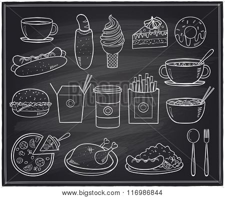 Hand drawn assorted food and drinks graphic symbols on a chalkboard.