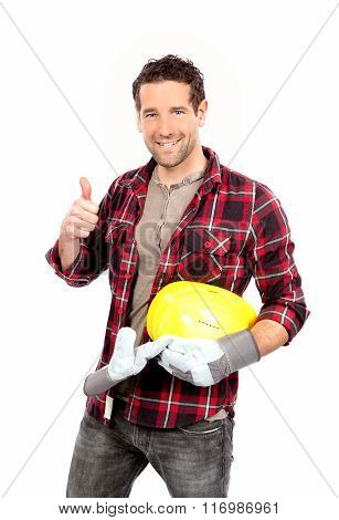 portrait of smiling craftsman thumbs up sign