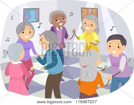 Illustration of Senior Citizens Happily Dancing