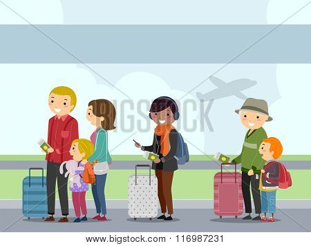 Illustration of Airline Passengers Waiting to Board the Plane