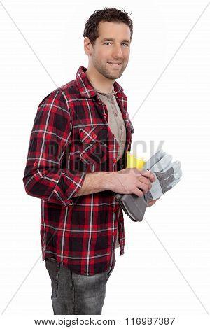 Handsome smiling craftsman