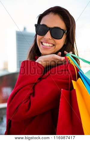 Girl doing her shopping outside