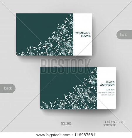 Business card vector template with floral ornament background