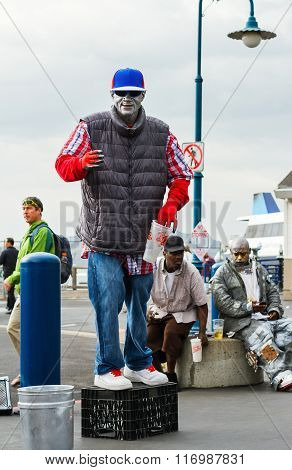 Street Artist Performs In San Francisco, California