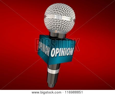 Opinion word on a cube around a microphone on red background to illustrate an interview to collect feedback or viewpoints