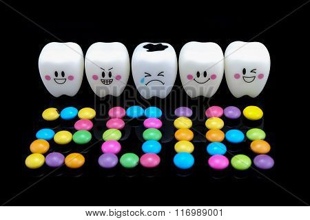 Five Teeth Smile And Cry Emotion Black Background.