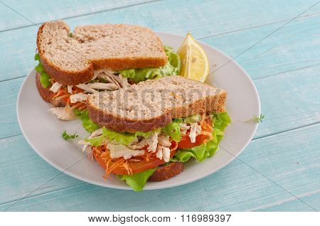 Two Big Sandwiches With Chicken