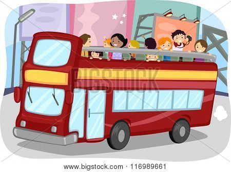 Illustration of Tourists Riding a Double Decker Bus
