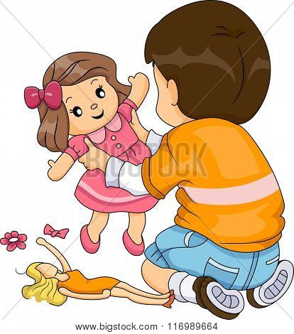 Illustration of a Boy while Playing Dolls