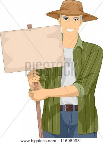 Illustration of a Senior Citizen Holding a Farm Sign Board